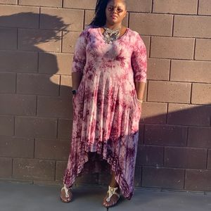 Dresses & Skirts - New Plus Size Tie Dye Coral Hi Low Maxi Dress
